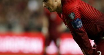 Portugal's Cristiano Ronaldo reacts during their Euro 2016 qualifier soccer match against Serbia at Luz stadium in Lisbon
