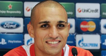 Olympiacos' Algerian player Rafik Djebbour attends a press conference on October 23, 2012 at La Mosson stadium in Montpellier, on the eve of the UEFA Champions League football match Montpellier vs. Olympiakos. AFP PHOTO / PASCAL GUYOT        (Photo credit should read PASCAL GUYOT/AFP/Getty Images)